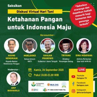 Moeldoko hingga Ganjar Pranowo akan Jadi Pemateri dalam Diskusi Virtual Hari Tani